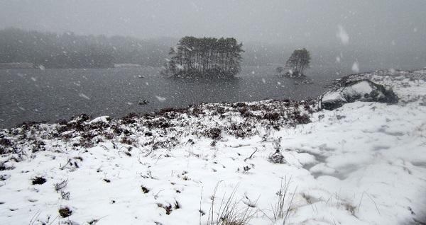 Heavy snow shower, Loch Ossian