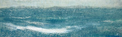 'Crossing to Harris, a damp April evening', Acrylic & Pastel,  76 x 23 cm, RP £720