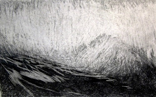 'January morning, Glen Rosa, Isle of Arran', Graphite on paper, 125 x 80 cm