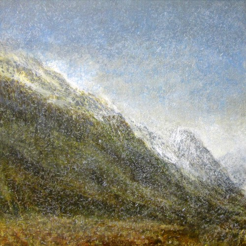 'Snow shower, Glen Rosa, Isle of Arran', Acrylic & Pastel, 80 x 80 cm