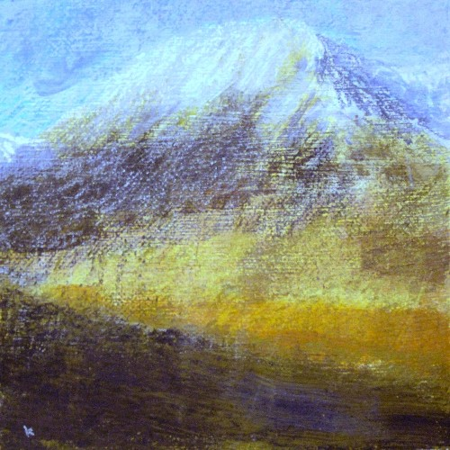 268 'Sun and snow, in the Blackmount', Acrylic & Pastel, 2013, 30 x 30 cm