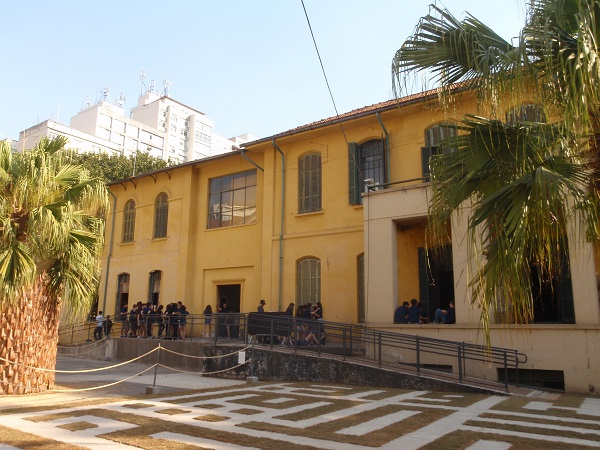 Entrance to the old hospital at Cidade Matarazzo, Sao Paulo