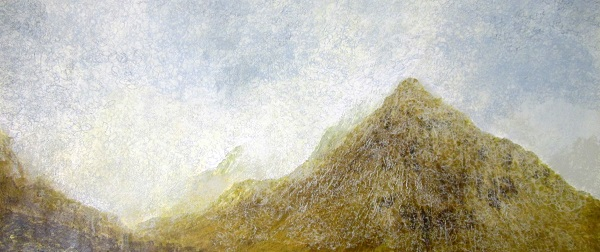'A damp morning, Buachaille Etive Beag, Glen Coe', Acrylic and Pastel, 2014, 122 x 61 cm
