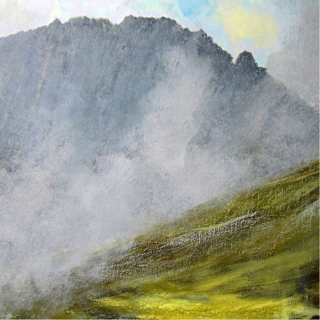 'Breaking mists, Isle of Arran', Acrylic & Pastel, 80 x 80 cm
