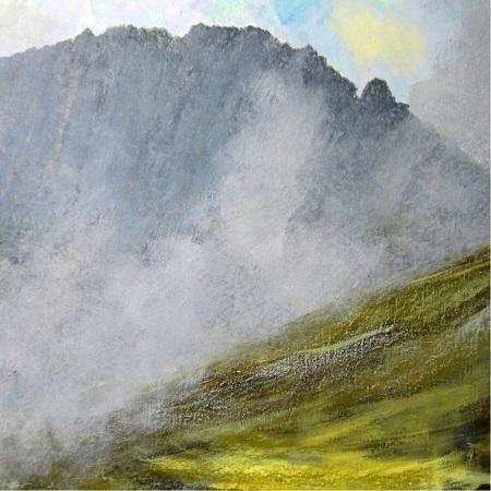 'Breaking mists, Isle of Arran', Acrylic & Pastel, 80 x 80 cm