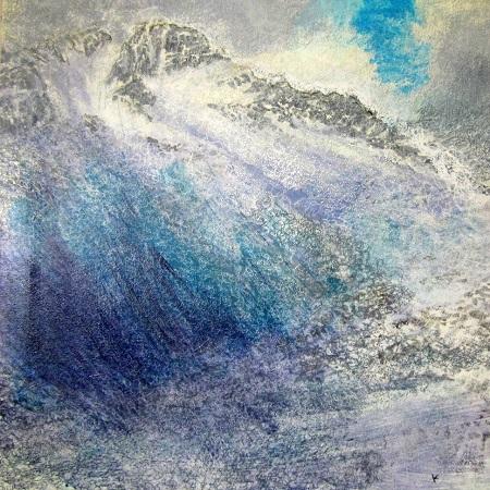 'Snow shower, below the east ridge of Ben Lui', Acrylic & Pastel, 2012, 80 x 80 cm,