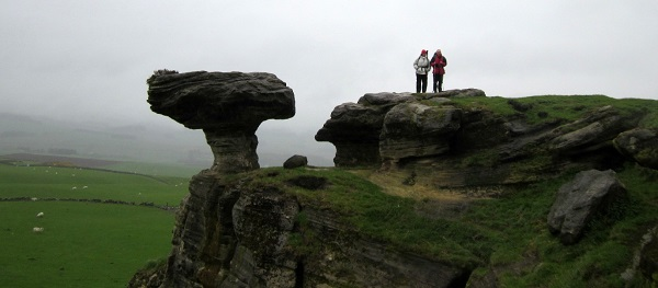 Nita and I in the rain at the Bonnet Stone