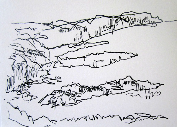 'Sutherland coastline sketch', Pen, 2012, 210 x 148 mm