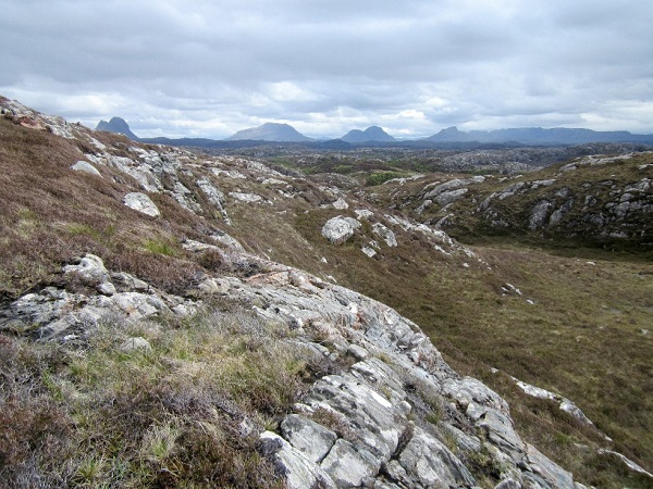 Assynt sky line from a hillside