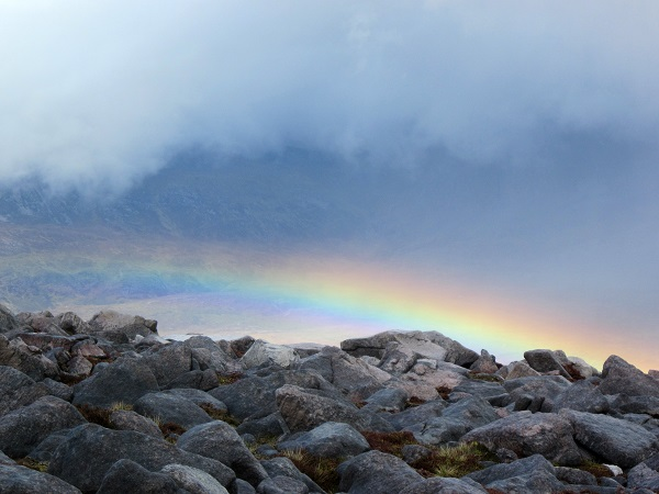 From Canisp, a bit of a rainbow during a hail shower
