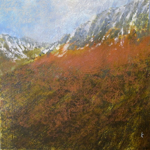 356 'Below Beinn Dorain, dusk, January', Acrylic & Pastel,  2015, 30 x 30 cm