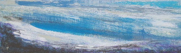 'A winter walk, east of the Drumochter Pass', Acrylic & Pastel, 2019, 76 x 23cm